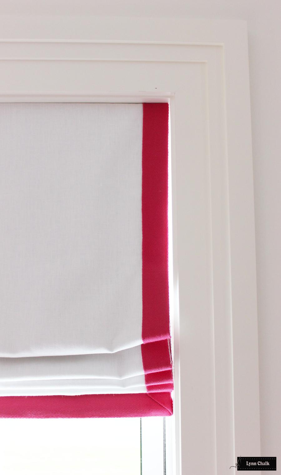 Roman Shades White Linen Trim Fuchsia 977-52389-55 Samuel and Son Performance Trim