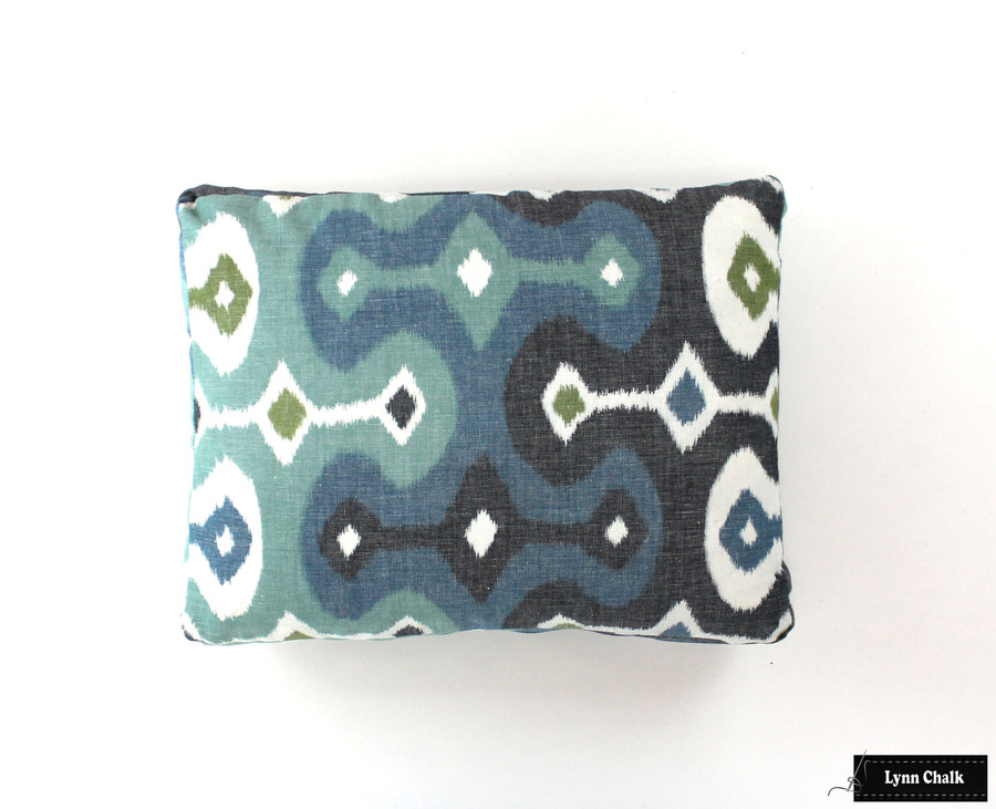 ON SALE 50% Off Schumacher Martyn Lawrence Bullard Darya Ikat in Sky Pillow with welting (Both Sides-20 X 20) Made To Order