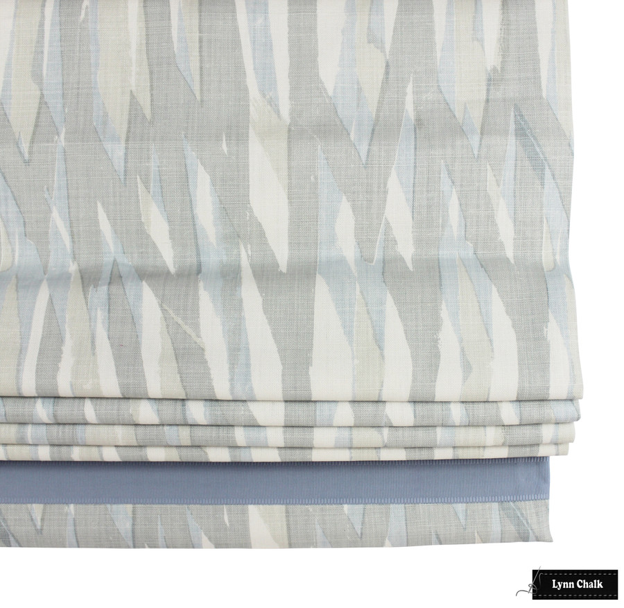 Christopher Farr Breakwater Pale Blue Roman Shade with Samuel & Sons Cambridge Strie Braid Water 977 34161