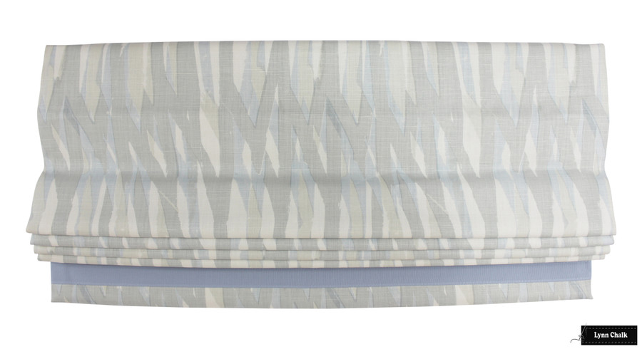 Christopher Farr Breakwater Custom Roman Shade (shown in Pale Blue with Samuel & Sons Cambridge Strie Braid Water)