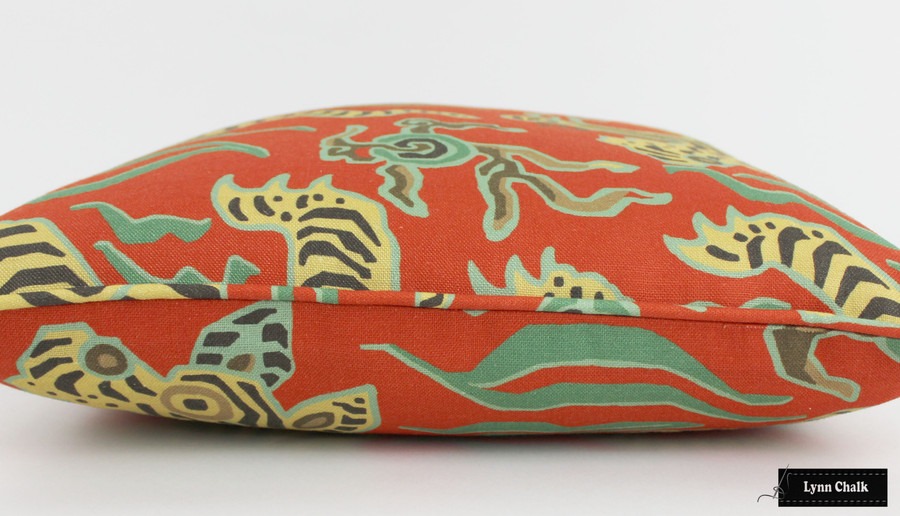 Custom Pillow in Tibet Cinnabar with Self Welting