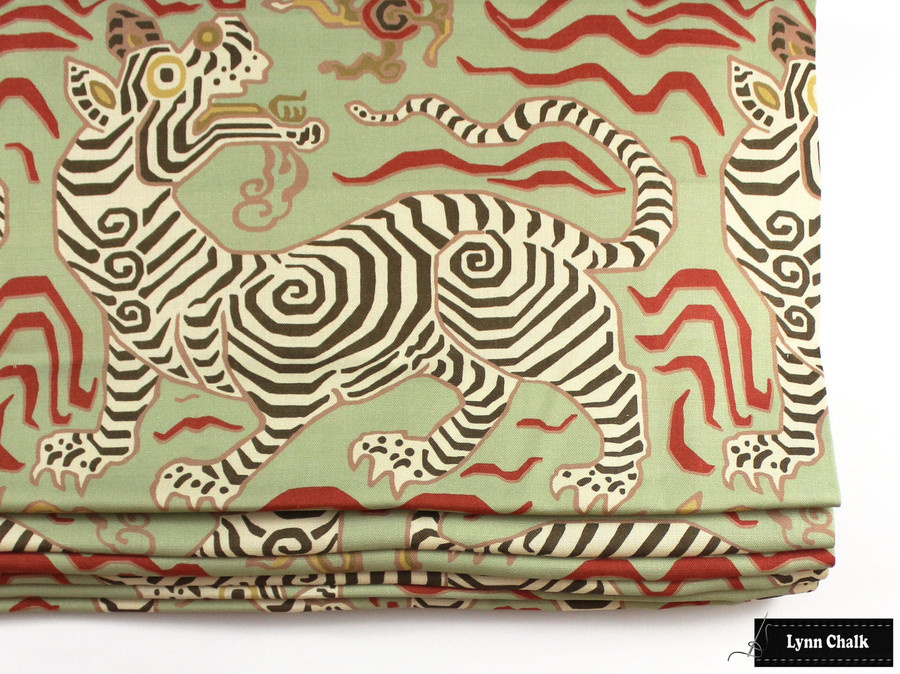 "Roman Shade in Tibet Pale Green is 42"" Wide and it is 15"" to first fold (Just below tiger's feet)"