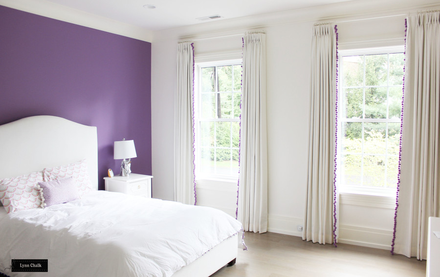 White Linen Drapes and Samuel and Sons Dolce Pom Pom Trim (shown in Sugarplum - comes in several colors)