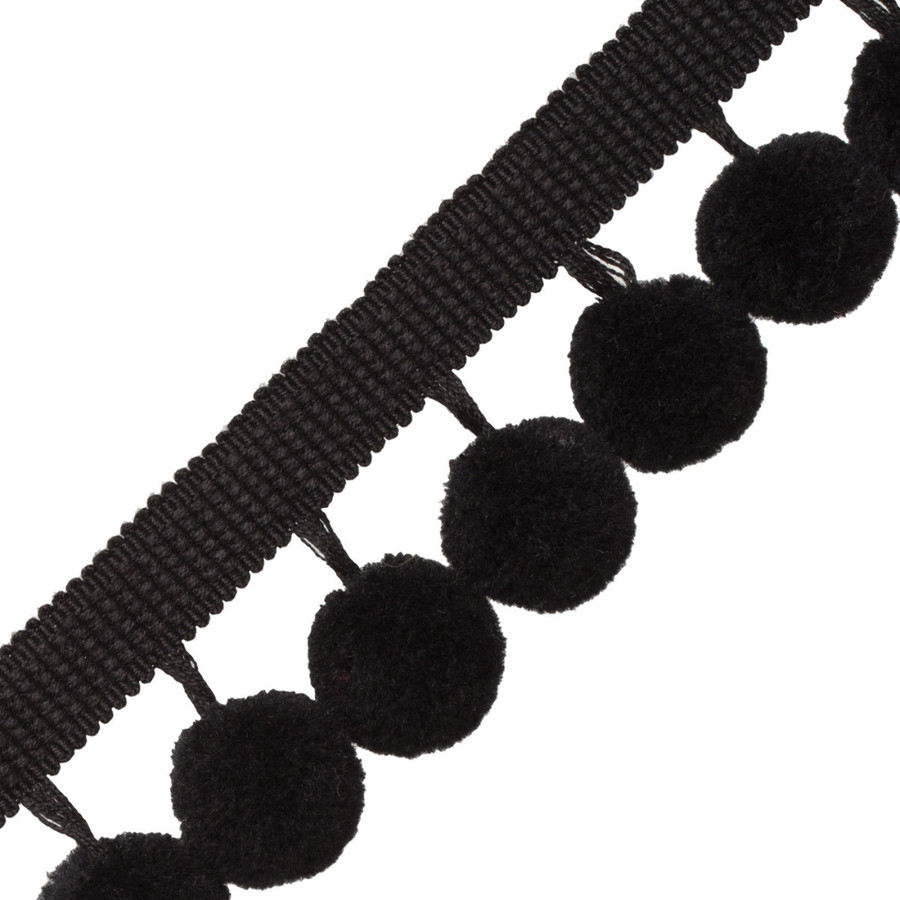 Samuel & Sons Dolce Pom Pom Fringe Black Licorice