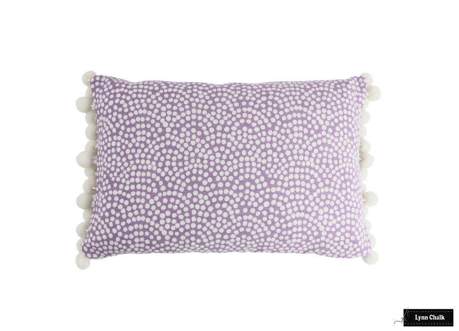 Quadrille Mojave One Color Reverse Lavender White Pillow with Samuel & Sons Dolce Pom Pom in Whipped Cream