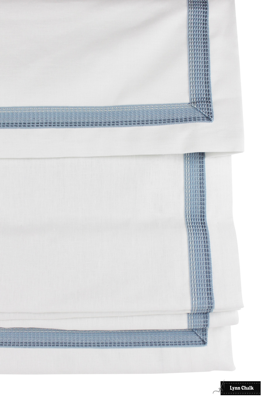Roman Shade with Self Valance White Linen Samuel and Sons Aurelia Ombre Border Wedgewood 977-56129-2