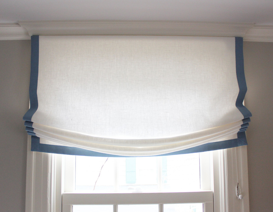 "Relaxed Roman Shade in Off White Linen with Samuel & Son 1.5"" Trim in Azure"