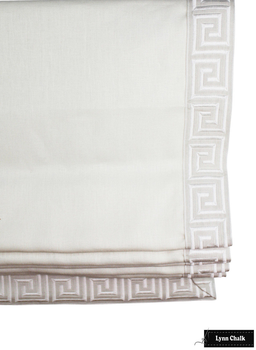 "Oyster Linen with Samuel & Sons Aristotle Greek Key in Oyster Roman Shade (2.75"" Wide)"