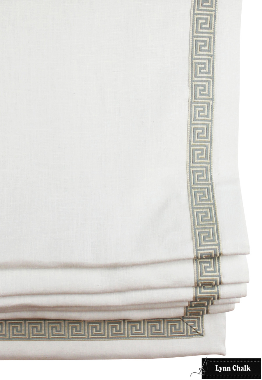 "Kravet Dublin Linen Cream Roman Shade with Samuel and Sons Aristotle Greek Key Trim in Blue Haze (1 3/8"" Wide)"