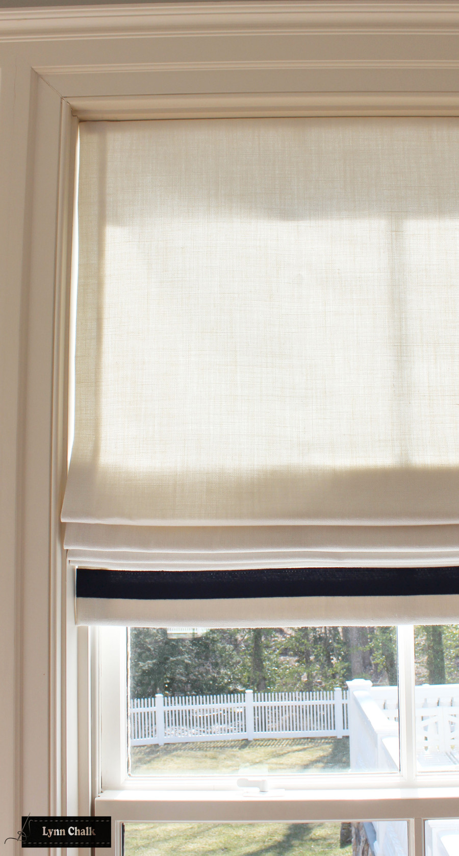 Roman Shades in Schumacher Piet Performance Blanc with Samuel & Sons Grosgrain Ribbon trim in Ink