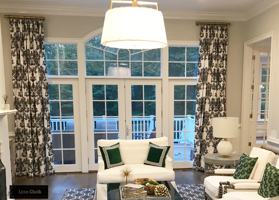 Schumacher Carolina Custom Drapes in Living Room (shown in Ebony-also comes in Ultramarine and Grisaille)
