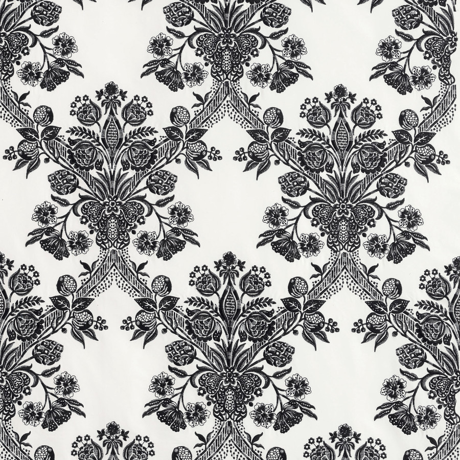 ON SALE 65% Off- 2 Yards Schumacher Carolina in Ebony Black Fabric Remnant (2 Yard Continuous Piece) 69711