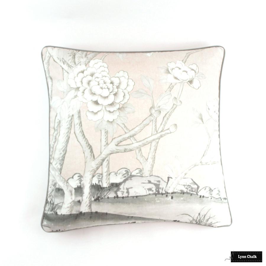 Chinois Palais Blush Conch  24 X 24 pillows with Robert Allen Kilrush II Nickel Linen Welting