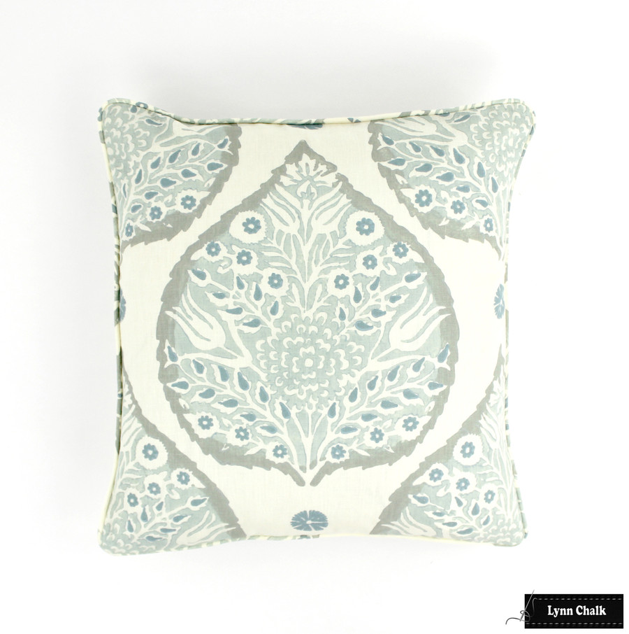 On Sale 50% Off-Galbraith & Paul Lotus Pillows in Mineral on Cream with Self Welting (Front Only-18 X 18) Made to Order