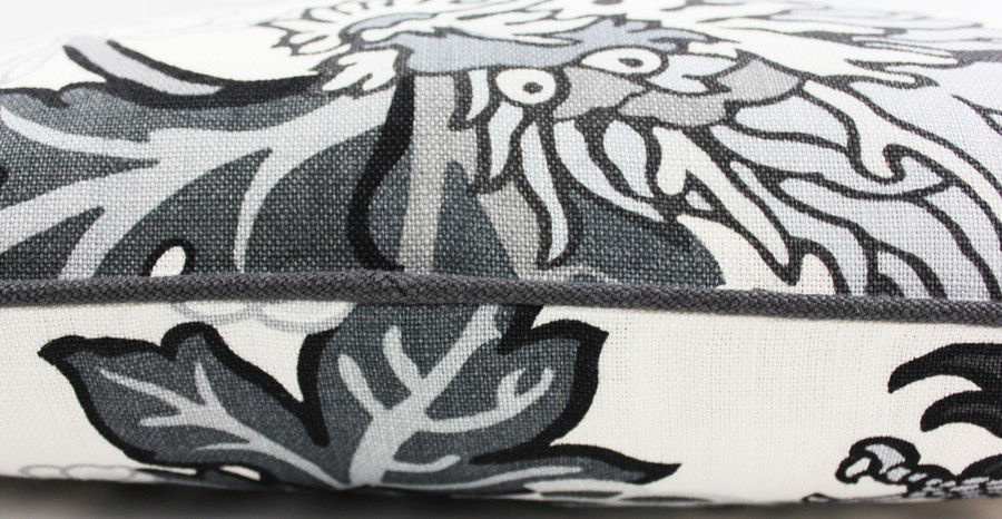 ON SALE 60% Off-Schumacher Chiang Mai Dragon Custom Pillows with Grey Welting in Smoke (Both Sides - Made To Order)