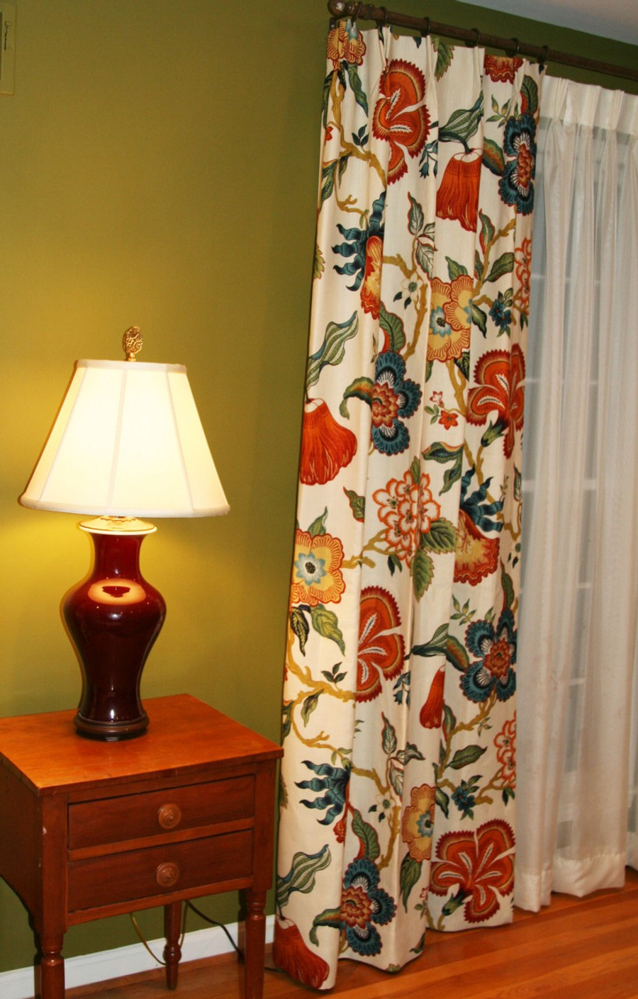 Custom Drapes by Lynn Chalk in Schumacher Celerie Kemble Hot House Flowers Spark installed in clients house.