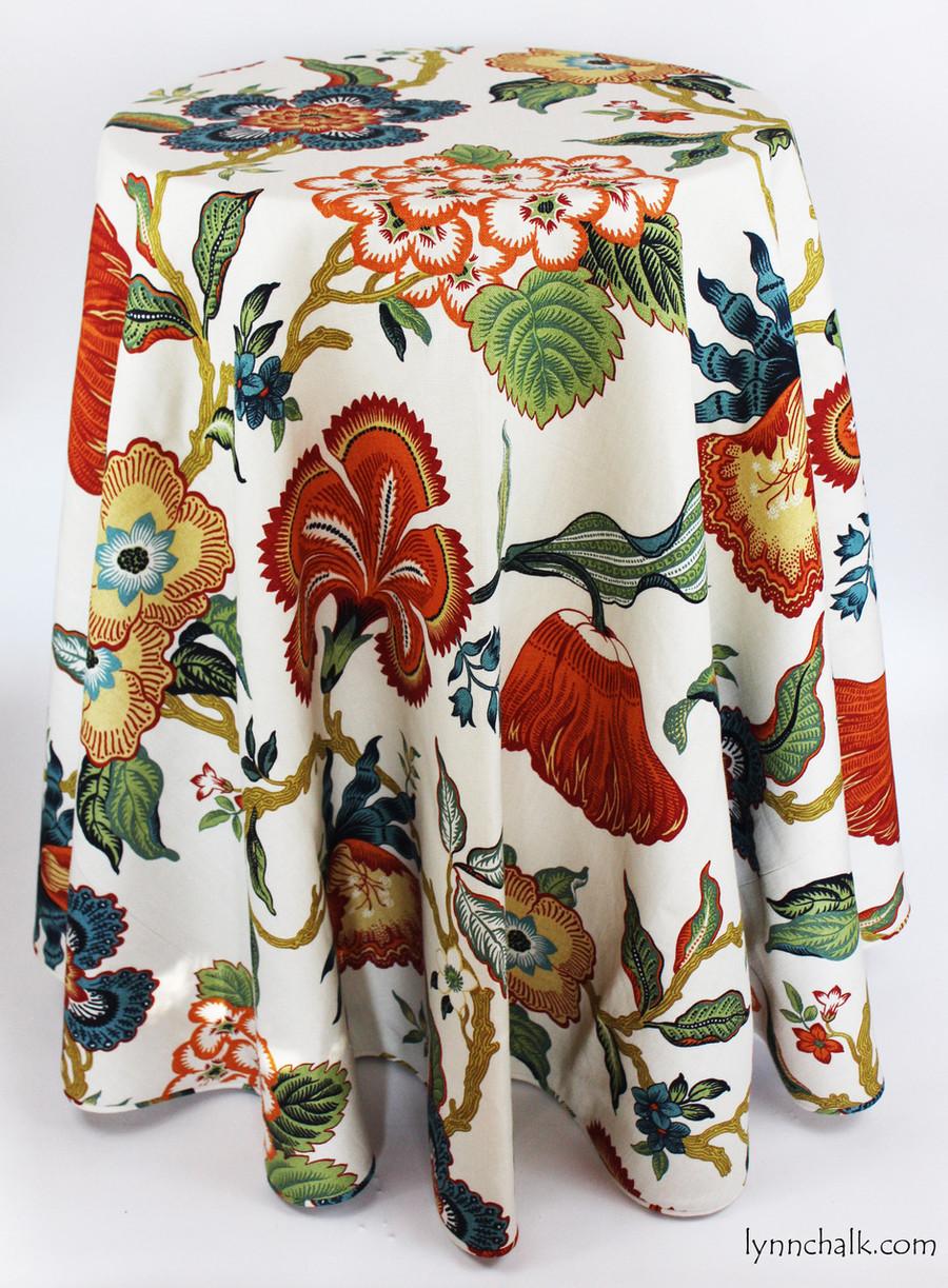 Custom Table Skirt by Lynn Chalk in Schumacher Celerie Kemble Hot House Flowers Spark