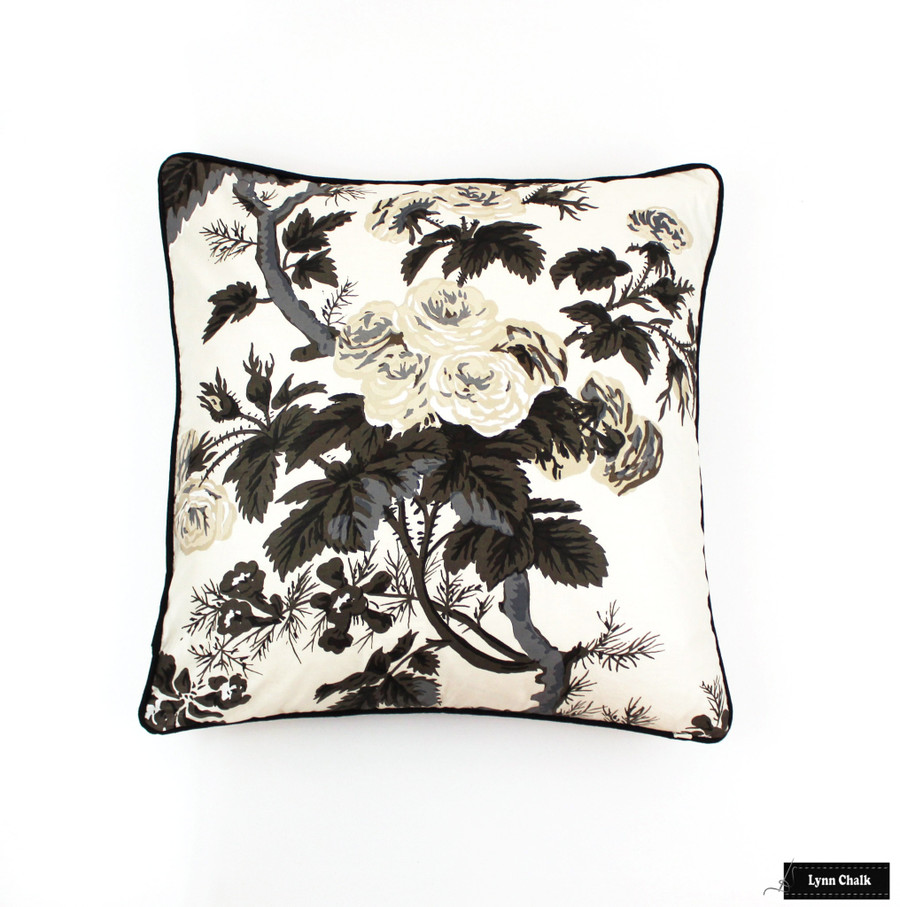 50% Off Schumacher Pyne Hollyhock 18 X 18 Pillow in Charcoal with Black Welting/Piping (Both Sides)