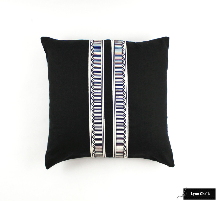 Schumacher Arches Narrow Trim Black and Off White on Black Linen 22 X 22 Pillow