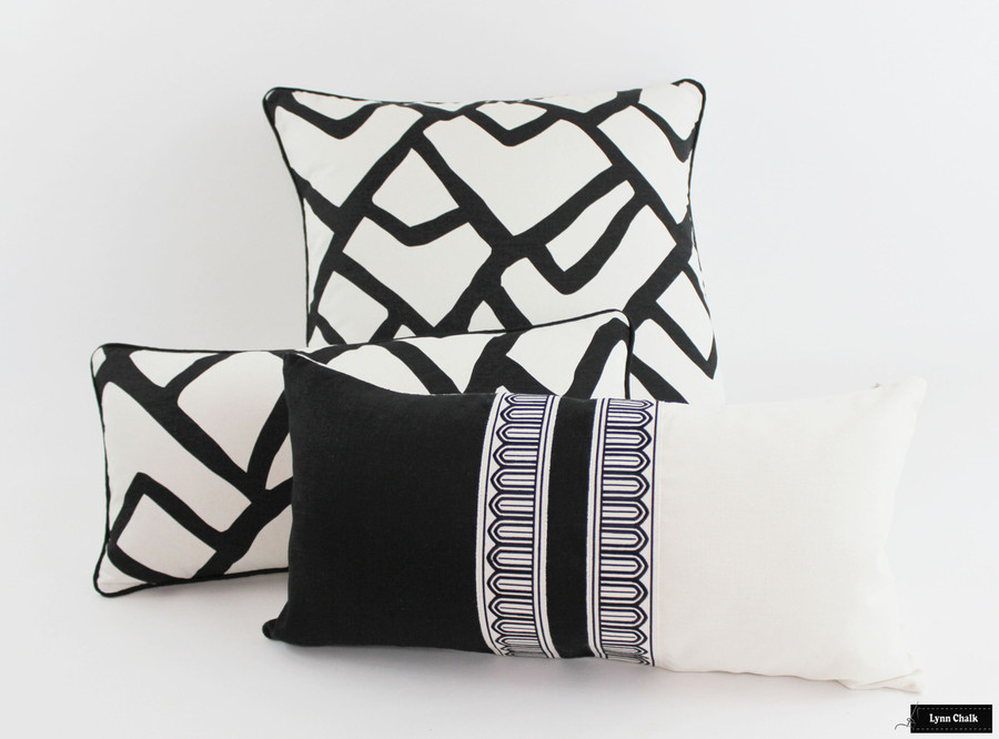 Schumacher Zimba Ebony Pillows with Black and White Pillow with Arches Trim