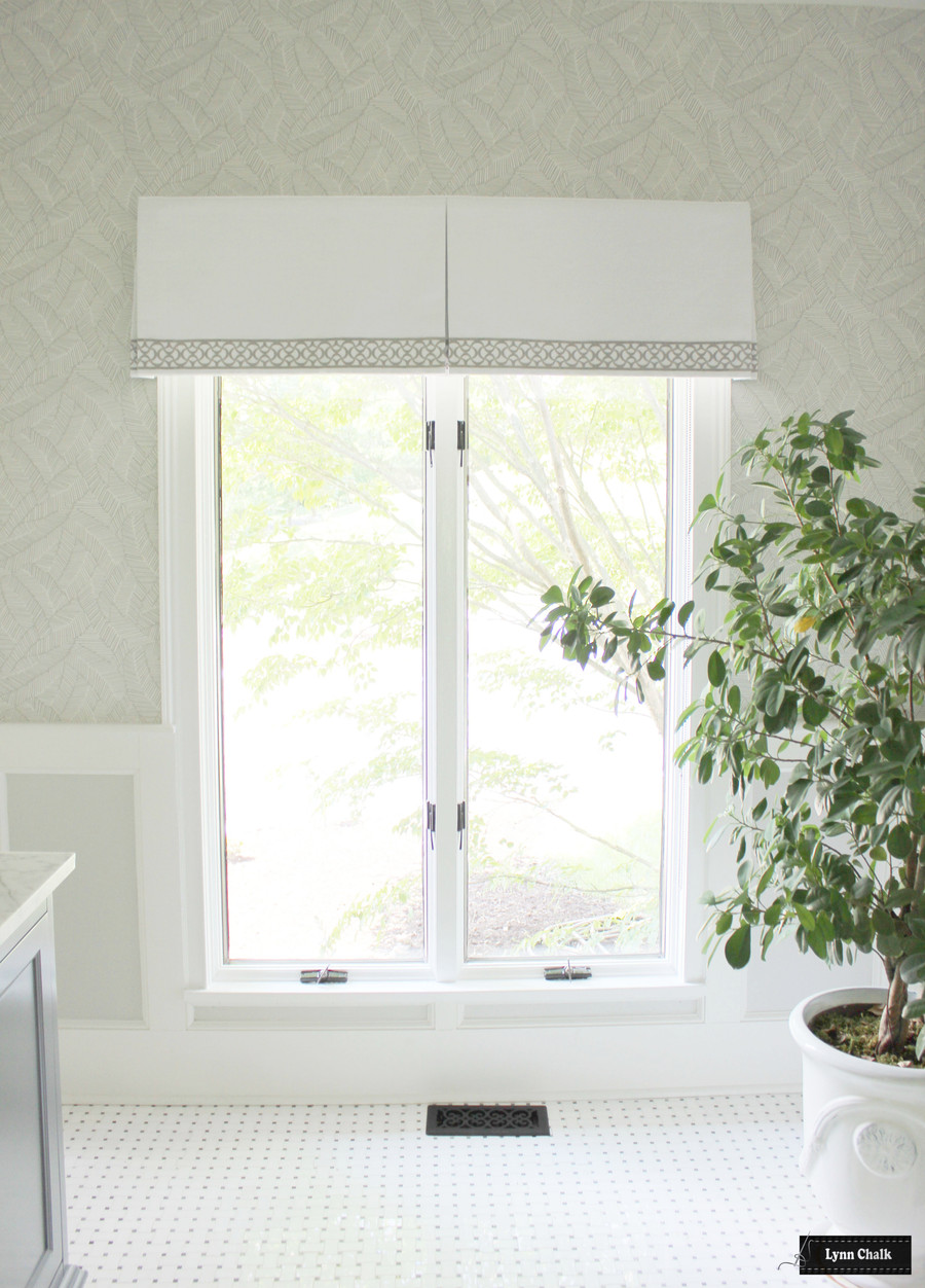 Box Pleated Valance White Linen Samuel & Sons Aubree Lace Border BT 58052 06 Pearl and Schumacher Abstract Leaf Wallpaper