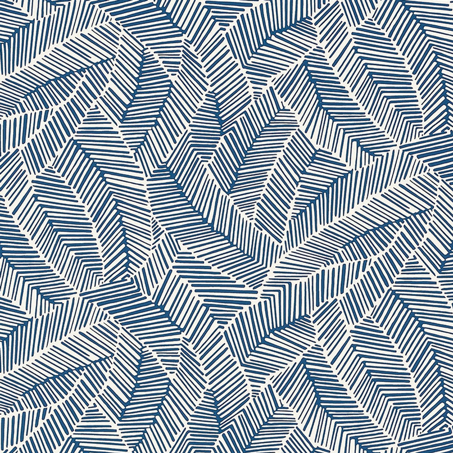 Schumacher Abstract Leaf Wallpaper Navy 5007533