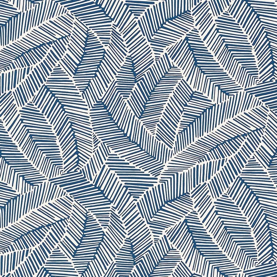 Schumacher Abstract Leaf Wallpaper Navy 5007533