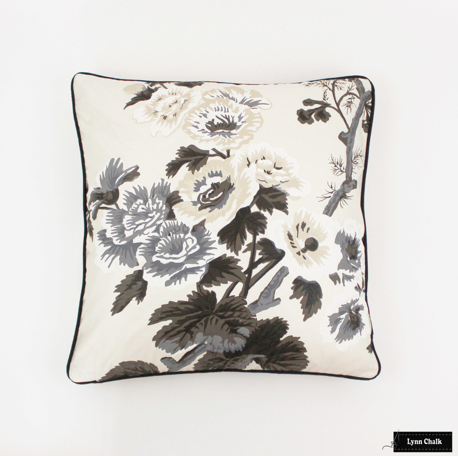 On Sale 50% Off -Schumacher Pyne Hollyhock Pillow in Charcoal with self welting (Both Sides-Made To Order)