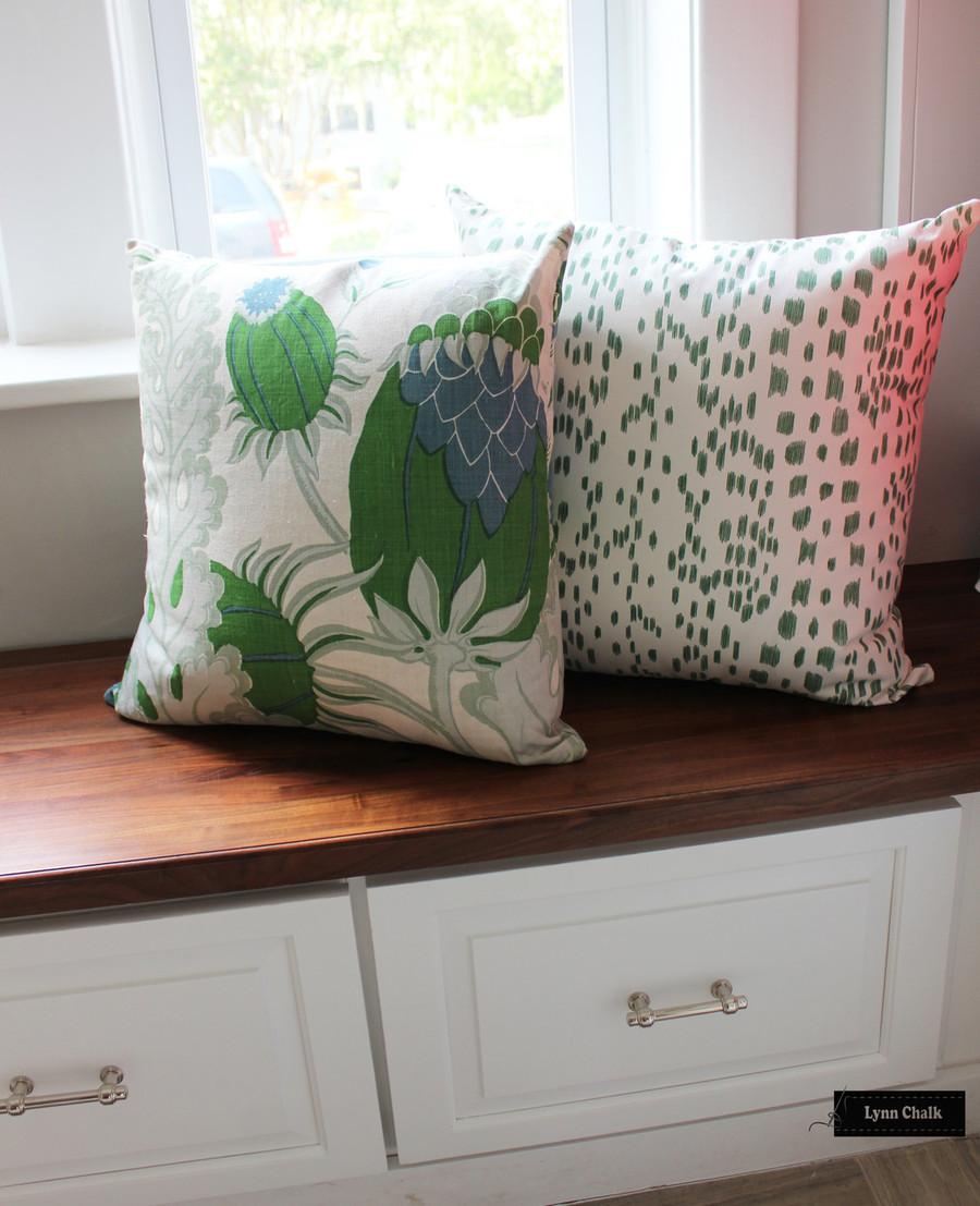 Pillows in Christopher Farr Carnival in Green with Brunschwig & Fils Les Touches in Green.