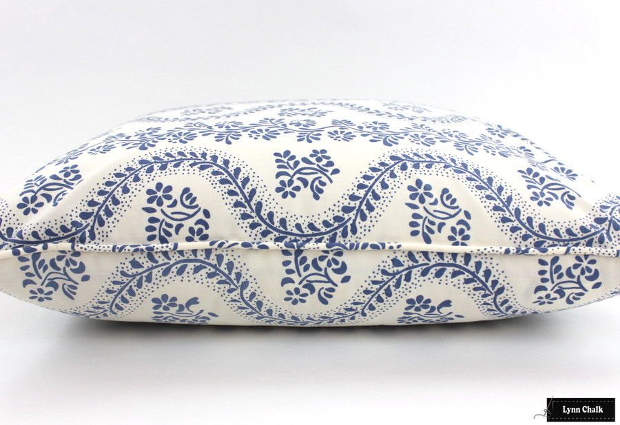 On Sale 45% Off -  Sister Parish Dolly Pillow with welting in Blue (22 X 22 - Both Sides)