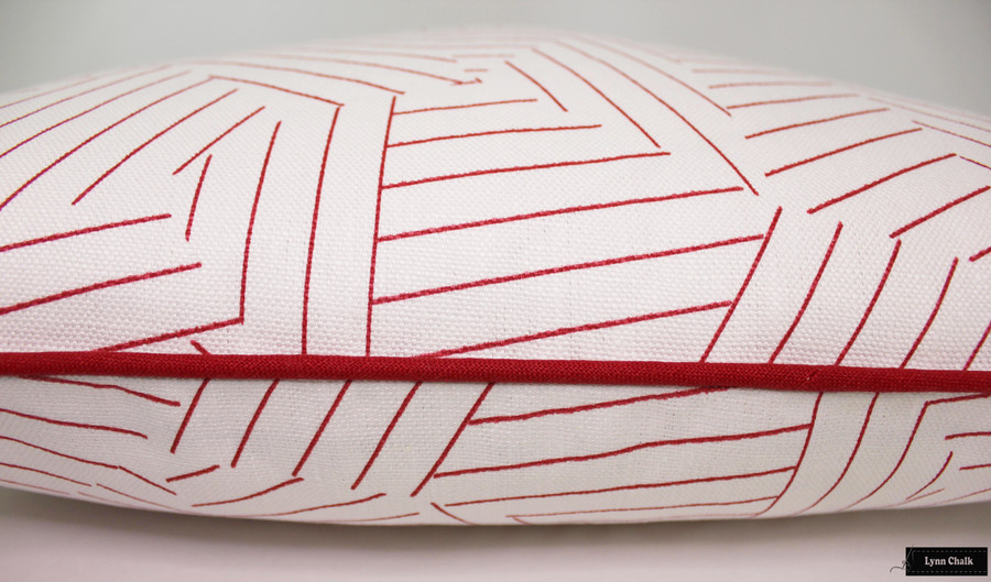 ON SALE 50% Off- Miles Redd for Schumacher Deconstructed Stripe Custom Pillow in Red with Red Welting (Both Sides 20 X 20)