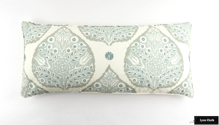 Galbraith & Paul Lotus Pillow in Mineral on Cream with self welting (16 X 36)