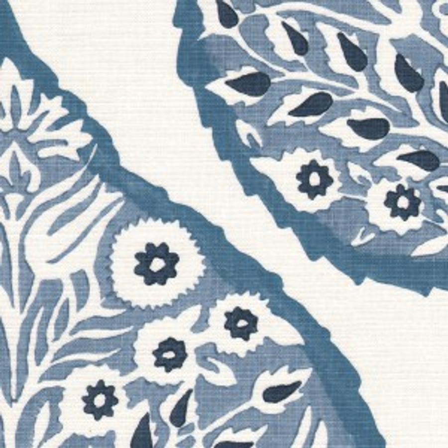 Lotus in Denim on White Linen