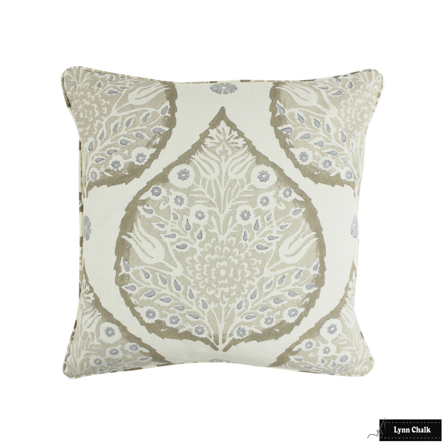 Galbraith and Paul Lotus Light Flax on Logan Linen Pillow with self welting (20 X 20)