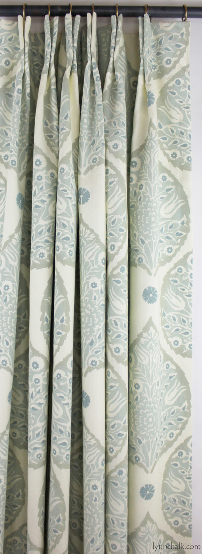 Custom Drapes in Lotus Mineral on Cream Linen