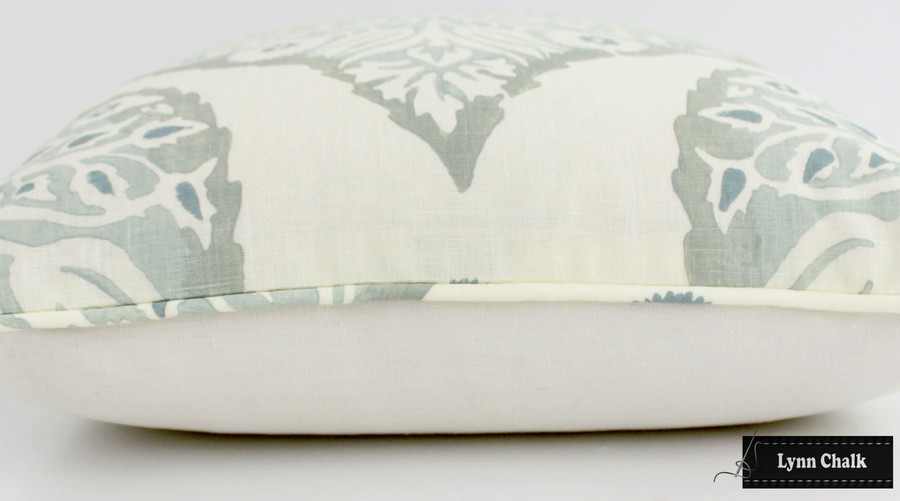 On Sale 50% Off-Galbraith & Paul Lotus Pillow in Mineral on Cream Linen with Self Welting (Front Only-14 X 22)