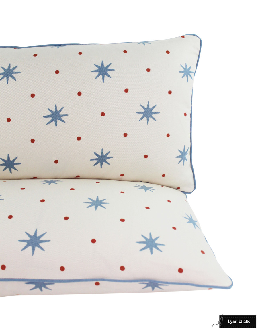 Sister Parish Serendipity fabric Blue Orange Pillows with Samuel Sons French Piping in Azure (14 X 36)