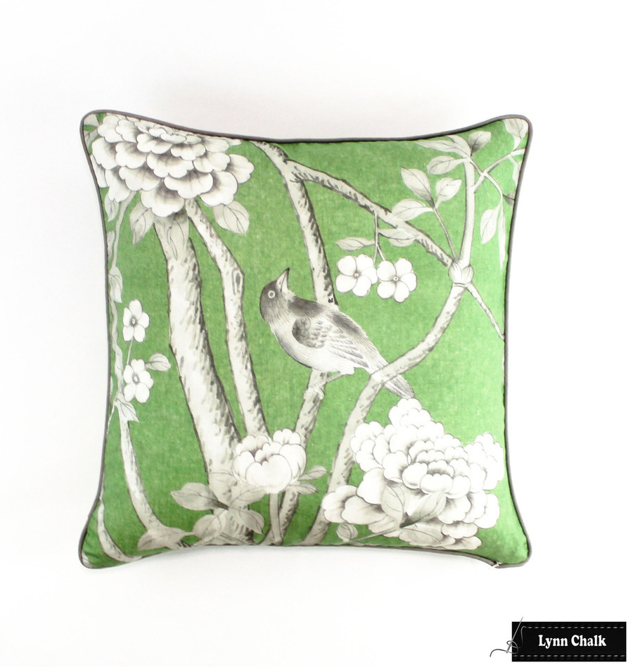 Custom Pillows 24 X 24 in Mary McDonald Chinois Palais in Lettuce with Robert Allen Kilrush II Nickel Welting