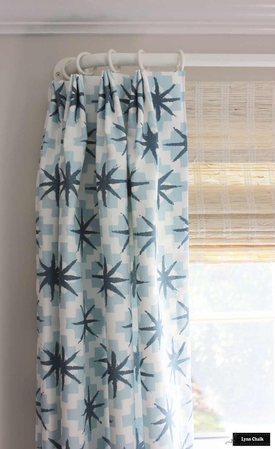 Peter Dunham Starburst North Blue Triple Euro Pleat - Helser Brothers French Poles in Alabaster - Horizon Woven Wood Shade Blakely Pale Almond