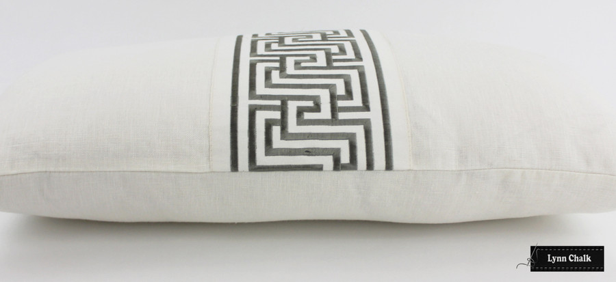 ON SALE 50% Off - Ivory Pillow with Schumacher Labyrinth Platinum Trim on front (14 X 26)