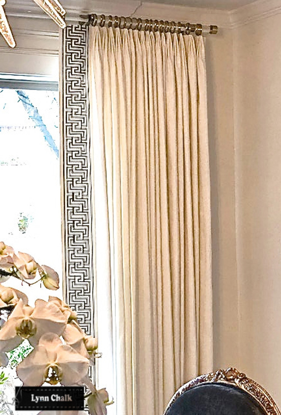 Custom Drapes in Linen with Schumacher Mary McDonald Labyrinth Tape (comes in several colors)