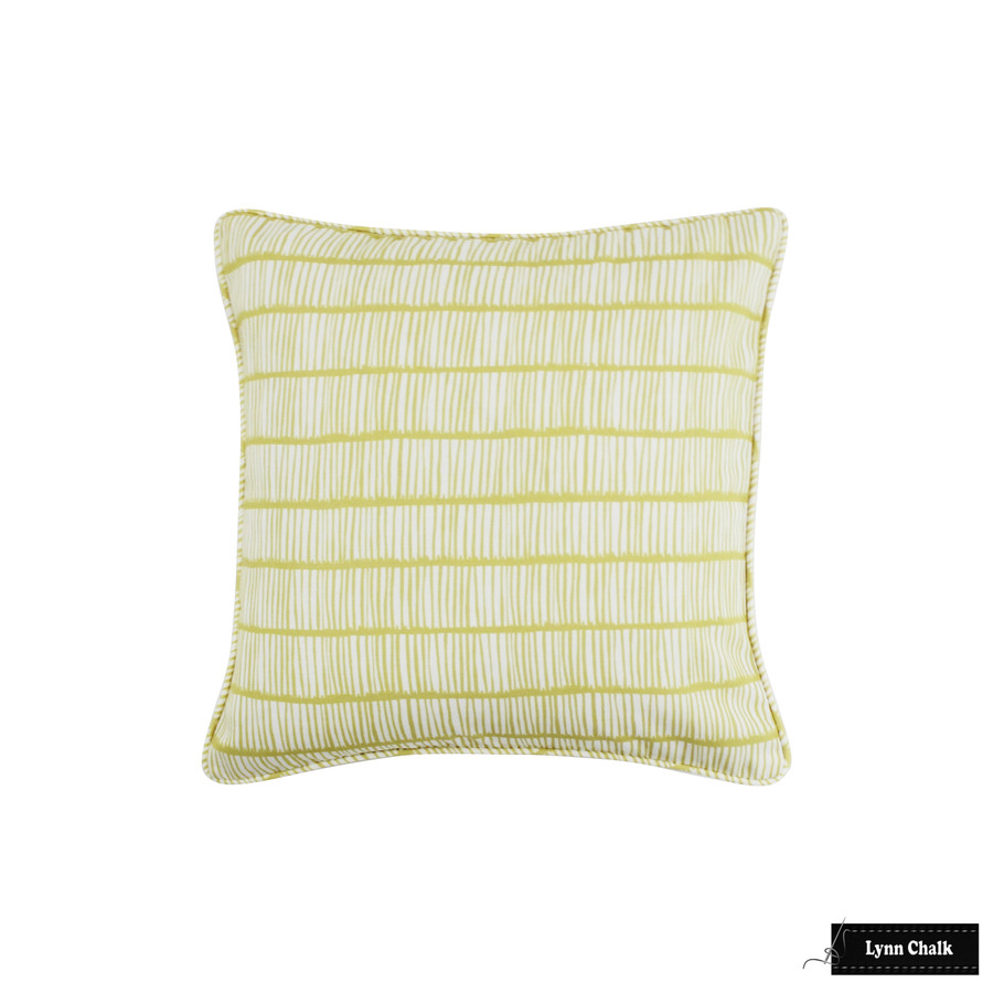 Christopher Farr Crochet Pillow with welting (shown in Celeste-comes in many colors in linen and 4 colors in Outdoor Polyester) 2 Pillow Minimum Order