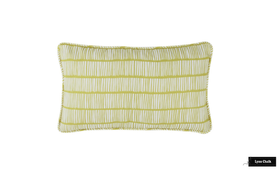Christopher Farr Crochet Pillow with welting (shown in Limone Lemon Yellow-comes in many colors in linen and 4 colors in Outdoor Polyester) 2 Pillow Minimum Order