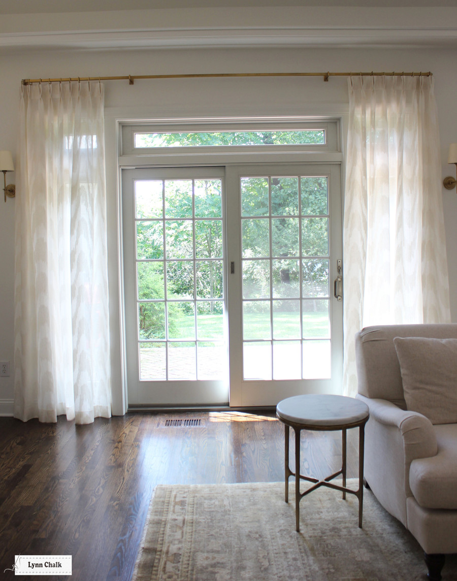 Living Room in Cowtan & Tout Marina in Ecru Custom Sheer Pleated Drapes