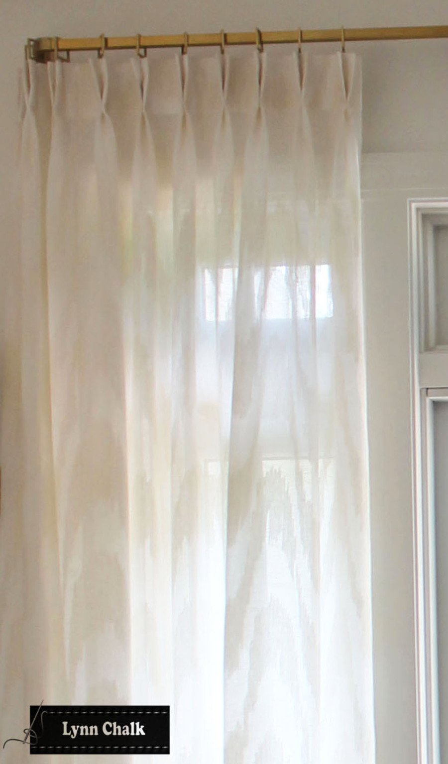 Living Room in Cowtan & Tout Marina in Ecru Custom Sheer Pleated Drapes