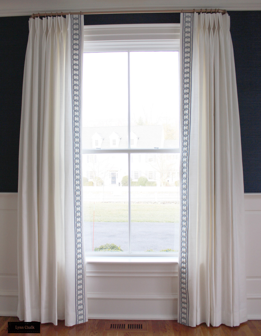 Dining Room - Schumacher Kenmare Linen Custom Drapes in White with Samuel & Sons Milo Embroidered Border Marine BT 58044 11