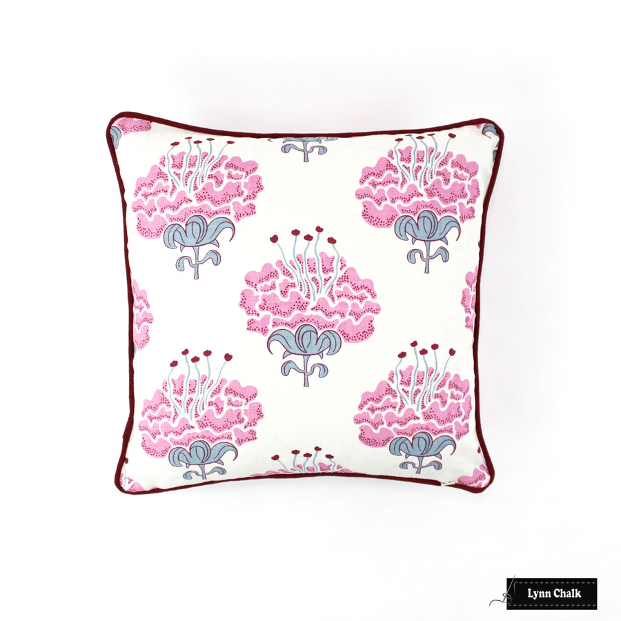 Pillow in Katie Ridder Peony in Raspberry with Kravet Dublin Linen Lipstick Red Welting (16 X 16)