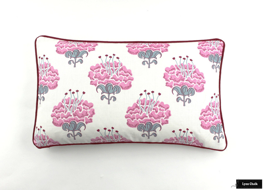 Pillow in Katie Ridder Peony in Raspberry with Kravet Dublin Linen Lipstick Red Welting (14 X 24)
