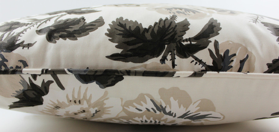50% Off Schumacher Pyne Hollyhock 20 X 20 Pillow in Charcoal with Self Welting (Both Sides-Made To Order)