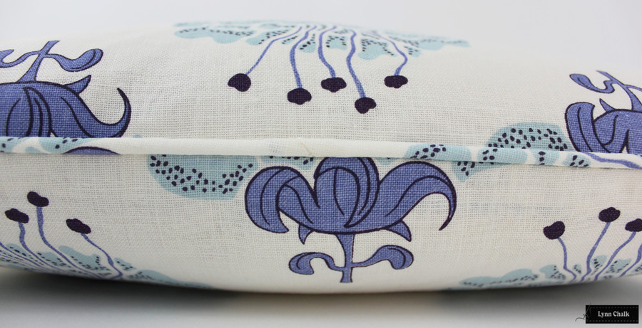 ON SALE - Katie Ridder Peony 22 X 22 Pillow with Self Welting in Blueberry (Front Only) Made To Order